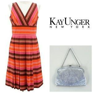 Kay Unger V Neck Striped Cotton Cocktail Dress